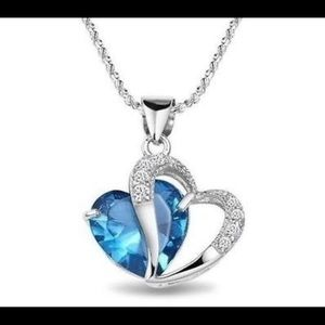 Beautiful Silver and Blue Heart Necklace